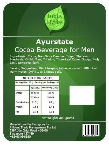 Ayurstate Cocoa Beverage Mix for Men