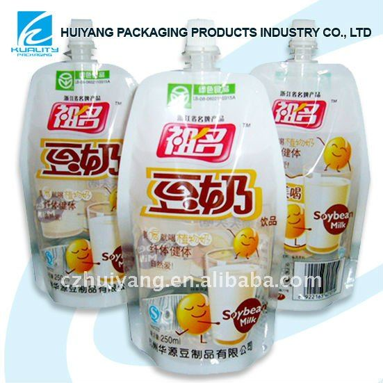 Beverage stand up pouch for soymilk packaging with spout