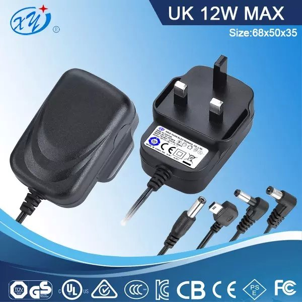 UK 3pin Wall Mount Charger 12w 2a 12v 48v ac dc Power Adapter for Android Tablet pc