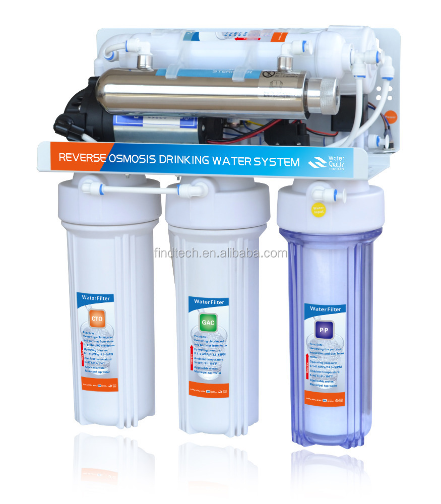 Automati flushing 6 stage reverse osmosis membrane filter system purifier of water PP+GAC+CTO+RO+T33+UV with 3.2G Plastic Tank &