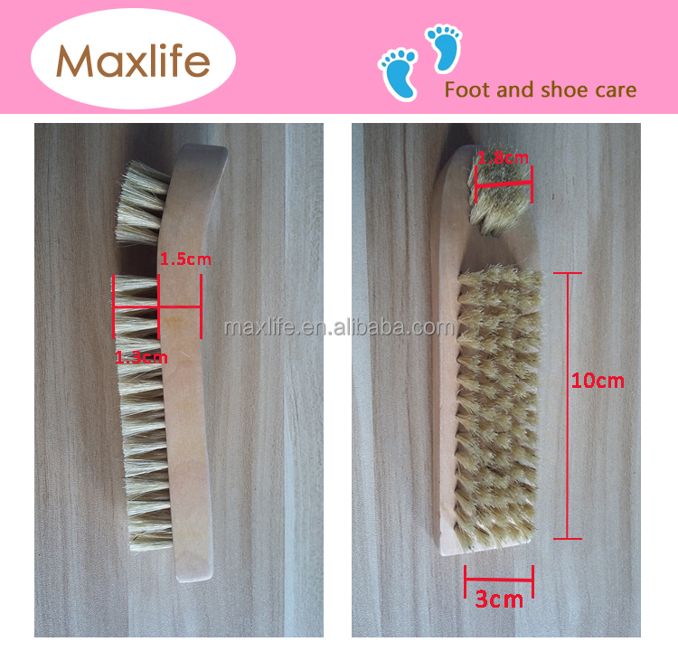 Professional Quality Shoe Shine Buffing Dauber Brush 100% pig Hair Wood Handle