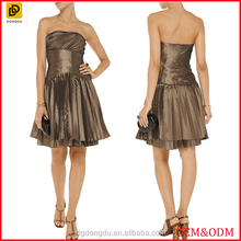 Sexy bandeau design pleated metallic fashion taffeta dress women