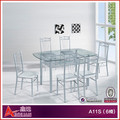 A11S-6 Malaysia glass dining table 6 chairs set