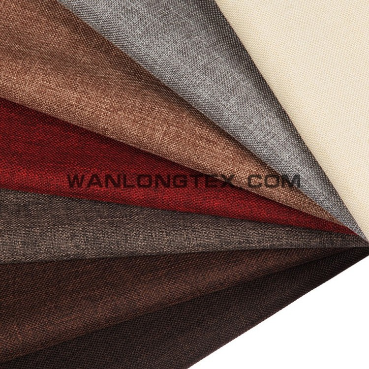 Cheap 100% polyester linen look with pongee backing cheap sofa cover fabric