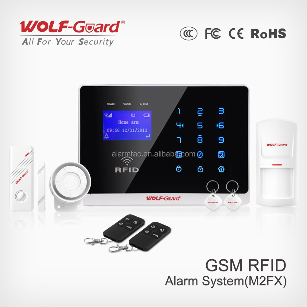 Smart Home System 2015 OEM China Wireless Home Burglar Alarms with 2G SIM Card GSM Network