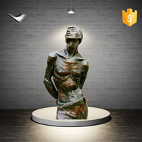 Custom life size naked bronze sculpture