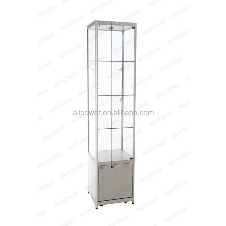 Display cabinet lighting wheeled glass vitrine free moving tower showcase