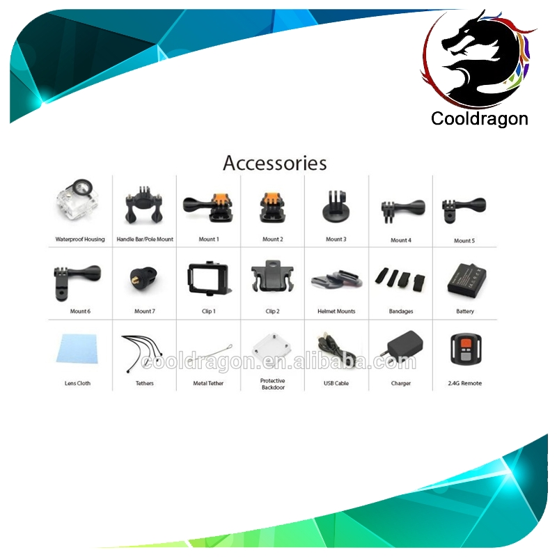 Cooldragon EKEN H9Rse waterproof camcorder H9Rse sport camera 1080P 60fps 30fps 2 inch LCD wifi 12MP waterproof 30M low price