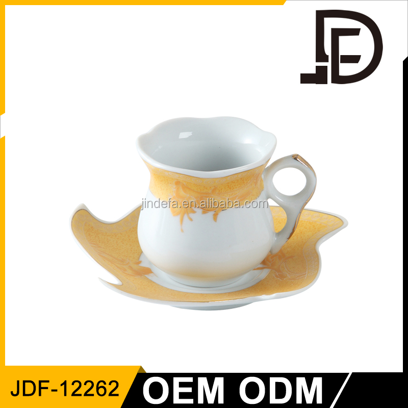 Drinkware wholesale alibaba porcelain areca leaf cups, ceramic coffe cups, giant cup and saucer