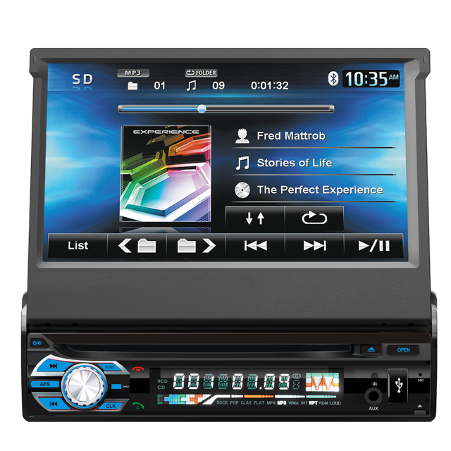 1 din flip down 7inch Car dvd player with gps optional