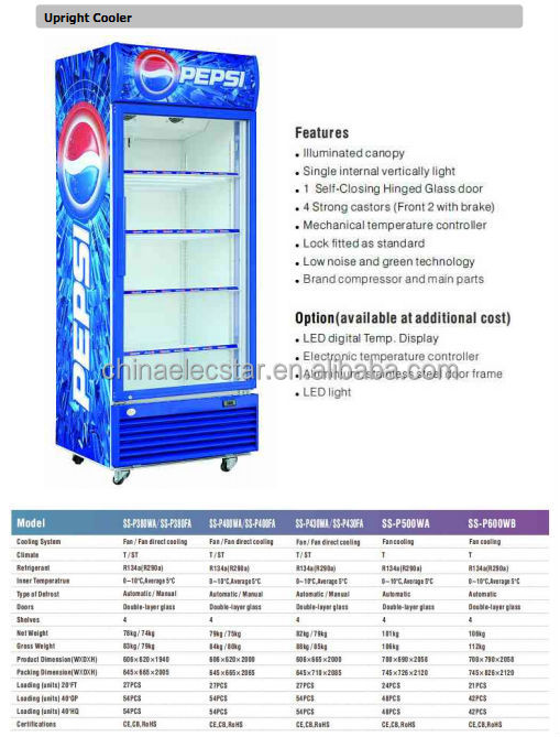 Pepsi Beverage Display Fridge Upright Showcase Single