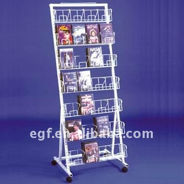 Floor Standing Black Metal DVD Holder Rack with Casters