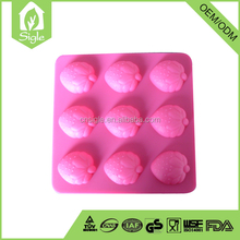 Promotion product 9 cavities cake tools strawberry mold silicone for chocolate and ice tray cube
