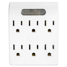Power 6 Outlet Adapter - Wall Tap Outlet, 6 Outlet Wall Adapter with a Soft Light