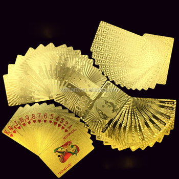 Table Games Durable Waterproof Plastic Gold/Silver Foil Playing Cards for Casino, Plastic Pokers