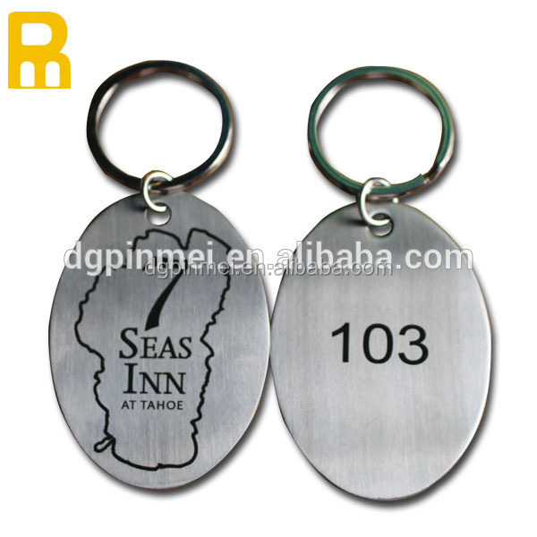 Promotional custom logo photo etched QR code key chain