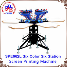 SPE662L six color six station screen printing machine