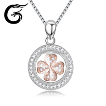 TOP-Sale CZ silver pendant rotate four-leaf clover design 925 sterling silver charm pendant
