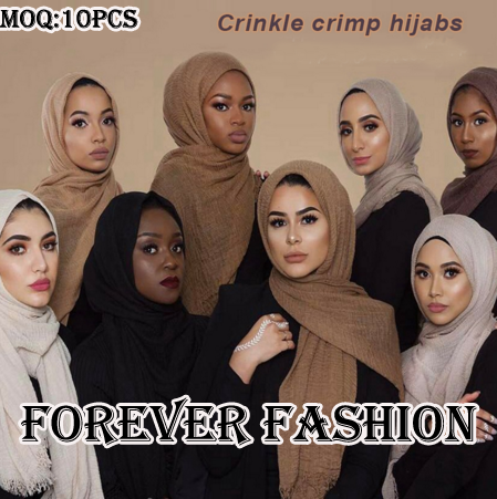 Top selling fashion crimp shawl muslim women wrinkle scarf hijab cotton crinkle hijab