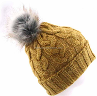 Cable Knit Handmade 100% Cashmere Hat with Raccoon Fur Pom Pom