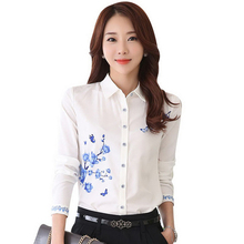 New Style Lady White Shirts Formal Work Blouse Size S-3XL Korean Women Printed Shirts Chiffon Blouse Slim Fit Lady Shirts