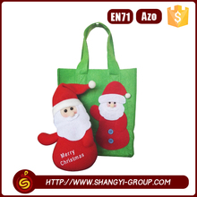 Foldable reusable polyester felt christmas shopping gift bags with santa glued in the front