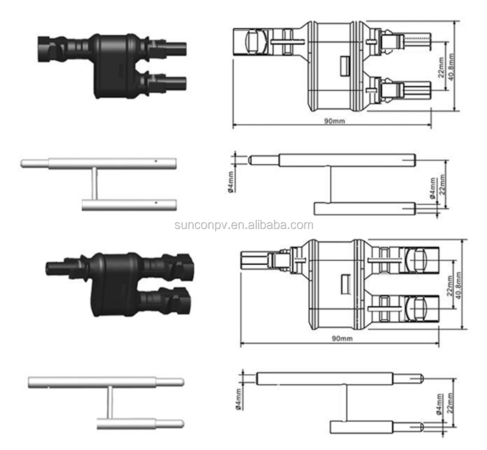 2-way solar pv Y type branch plug connector IP67