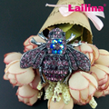 Unique Design Vintage Multicolor pink and purple Honey bumble bee Brooch Pins Rhinestone Insect Brooch jewelry