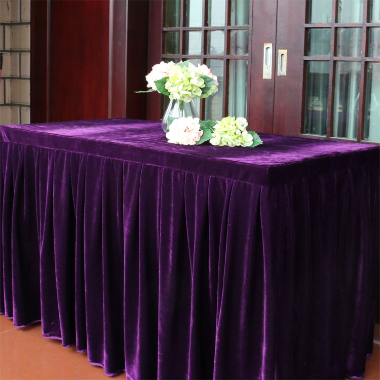 New design 100% polyester pleat ruffled table skirting for wedding