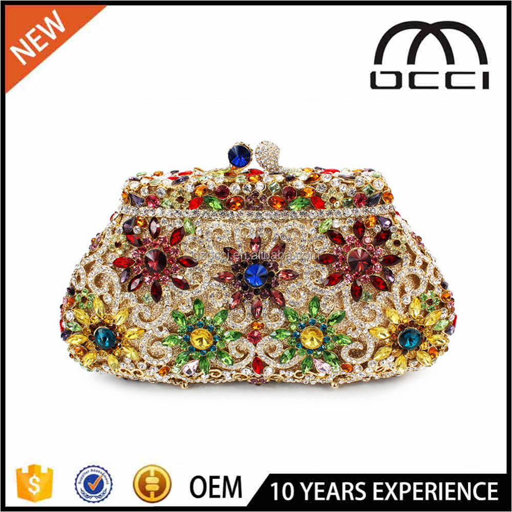 Online Shopping Colorful Match Wedding Dress Style Crystal Evening Bag SC2239