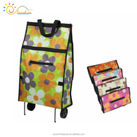 2016 new floral printing portable folding shopping trolley bag with 2 wheels/ cheap price&high quality/ Wholesale