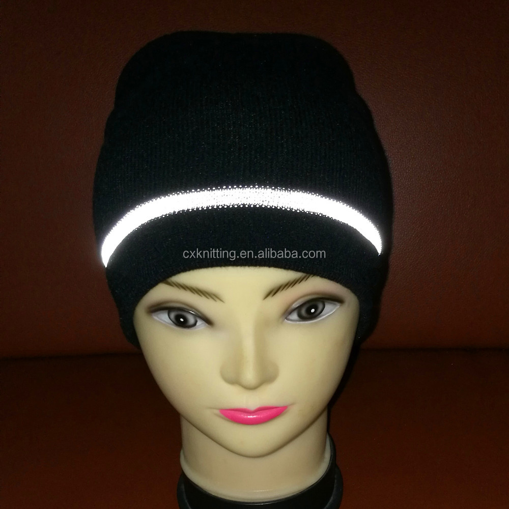 Chengxing brand wholesale custom High Visibility safty stripe beanie hats reflective knitted