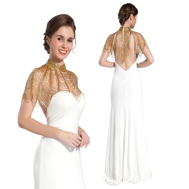 Luxurious women cocktail white evening bridesmaid beaded sequin dress