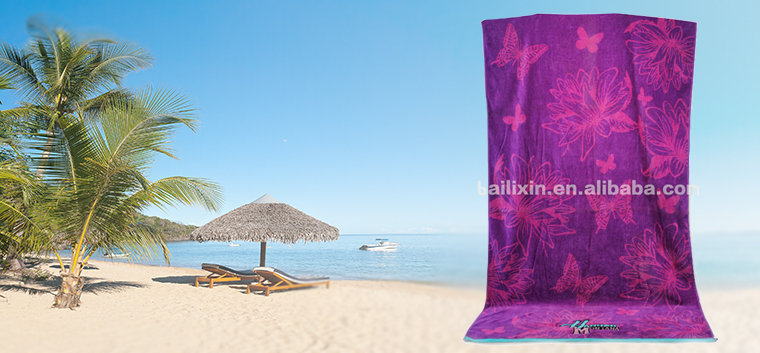 High Quality super cheap double sided velour beach towel (italy) with fringe