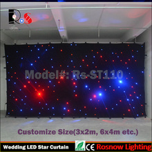LED Starry Curtain RGB full color White LED wedding events star cloth backdrop size customized