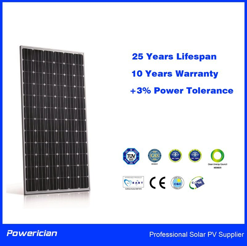 310W Mono Solar Panel For Solar Power System 0~+3% Tolerance Class A Solar Cell