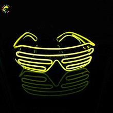 Wholesale fashion window-blinds EL wire glow glasses LED eyeglasses sound activated EL wire glasses flashing led sunglasses
