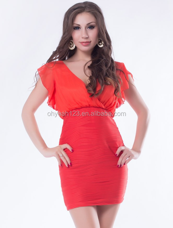 Top end red elegant ladies smart casual dress