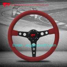 Attractive Steering Wheel !Black alloy spoke complete with red leather finsh and horn button.