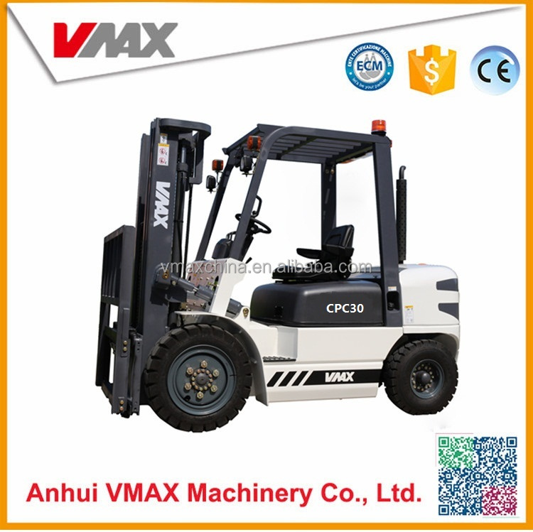 Vmax Manual hydraulic transmission 3 ton diesel cabin forklift penumatic tire with full free wide view 3M llifting height mast