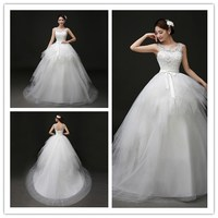 2017 Tulle+Satin Cascades White Ball Gown V Neck Sleeveless Chapel Train Dress of Bride