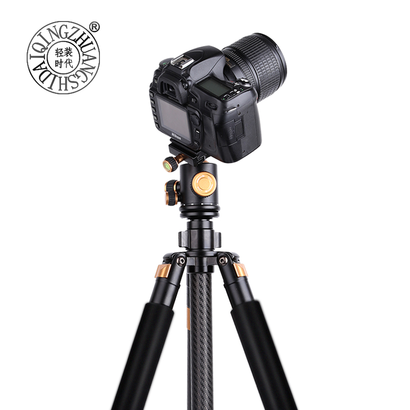 Q968C Carbon fiber lightweight digital camera tripod & monopod with panoramic ballhead & carry bag 63'' photographic stand