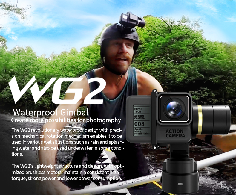 In Stock FeiyuTech WG2 Wearable Gimbal with Water-Proof, time lapse function, Compatible with GoPr AEE ACTIONCAM
