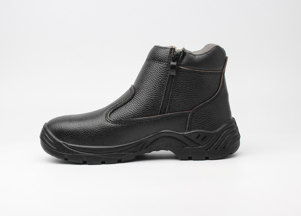American full grain leather and soft rubber black leather work boots slip resistant comfortable