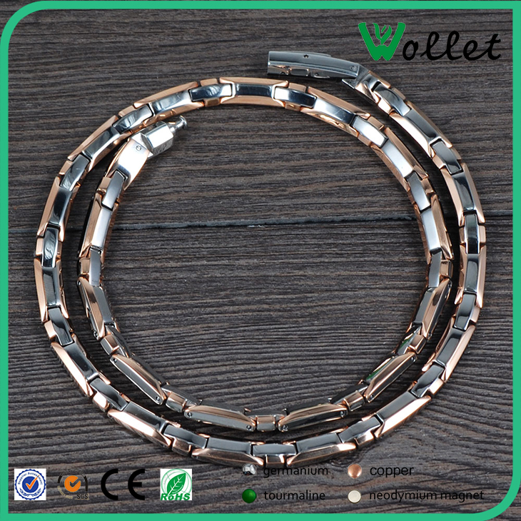 Magnetic Cord Wholesale Stainless Steel Chain Titanium Necklace With Hexangular Clasp