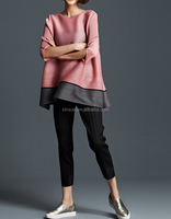 Latest fashion european style extended solid long sleeve pleated blouses and tops