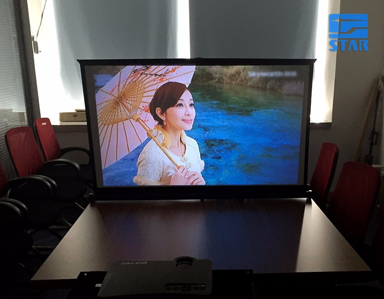 Mini Table Screen Outdoor Business Portable Movie Screens 50 Inch 16:9 Home meeting Projector Screen with PVC Fabric Matte White
