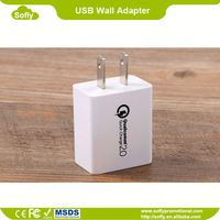 QC 2.0 Dual USB Travel Wall Charger with SmartID Technology, Foldable Plug for Smartphones
