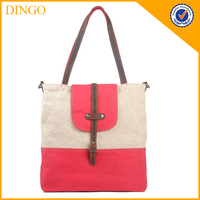 Trendy Fashion Natural Color 100% Cotton Canvas Tote Bag with Leather Handles
