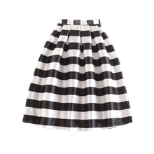 Summer Autumn Women Casual Black&White Wide Striped Print Pleated Skirt High Waist Ladies Elegant Mid-Calf Skater Tutu Skirts